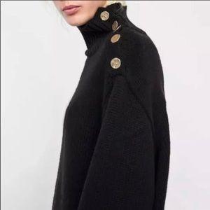 Zara Black Turtleneck Sweater Gold Buttons